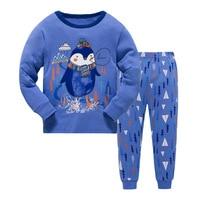 New Kids Boys Girls Penguin Pajama Set Long Sleeve Tops Pure Pant Nightwear Toddler Baby Boys