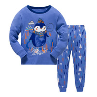 New Kids Boys Girls Penguin Pajama Set Long Sleeve Tops Pure Pant Nightwear Toddler Baby Boys