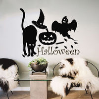 Halloween Wall Decals Witch Pumpkin Decal Vinyl Cat Sticker Kids Nursery