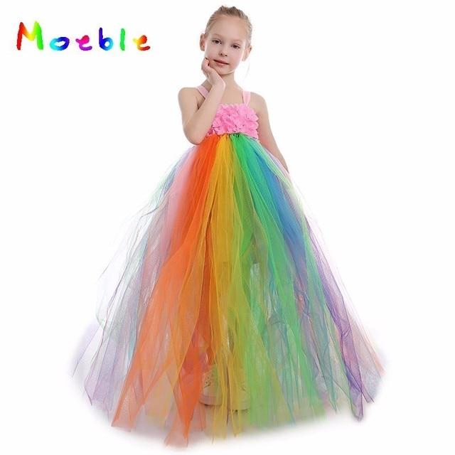 6f3021dc10e9e Bonbons arc-en-ciel fleur filles Tutu robe princesse fille Tulle robe arc-