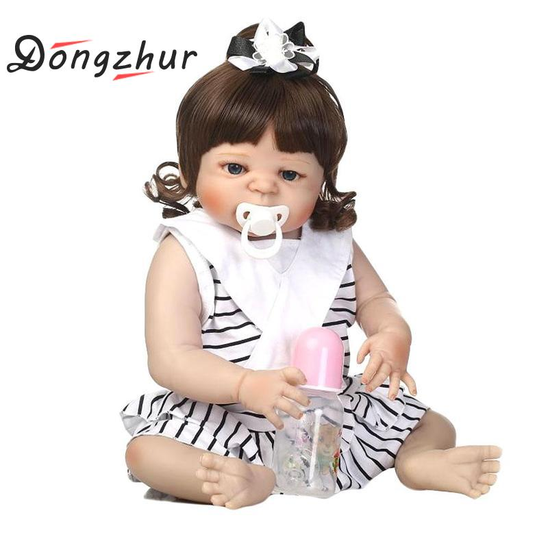Dongzhur 24 Inch Silicone Reborn Baby Dolls Black And White Striped Skirt Reborn Doll Gift For Children Birthday And Christmas vertical striped florals skirt
