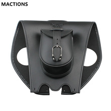 Motorcycle Parts Black Leather Tank Chap Cover Panel Pad Bib Bra Bag with Pouch For Harley Dyna Road King