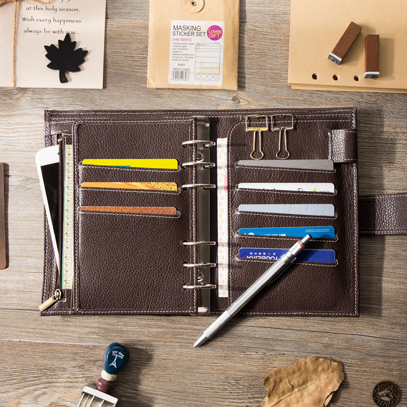 Image 2 - Yiwi  A6/Personal A7 Vintage Genuine Leather Traveler's Notebook Diary Journal Handmade Cowhide gift travel notebook Accessories-in Notebooks from Office & School Supplies