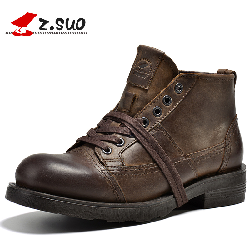 Z.SUO Winter Brand Top First Layer Genuine Leather Men's Army Boots New Autumn 100% Crazy Horse Cow Leather Male Martin Boots