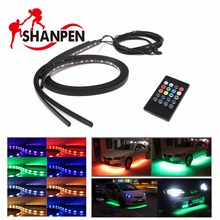 4PCS 12V Car  Exterior  Decoration Lamp LED Automobile Chassis Lights Bar Neon Strip  60cm x2 90cm x2