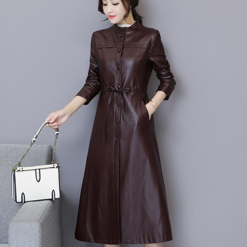 Women Leather Trench Autumn 2018 New Arrival Winter Female Sheepskin Coat split Leather Long Outerwear Button Belt Korean Style