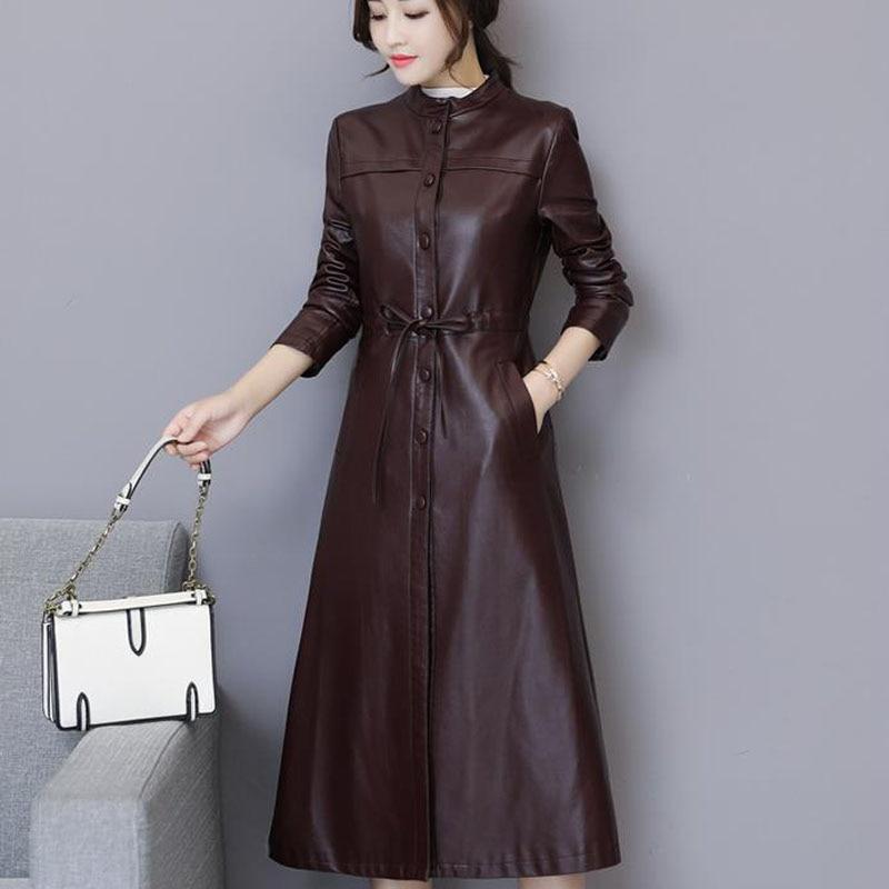Women Leather Trench Autumn 2019 New Arrival Winter Female Sheepskin Coat Split Leather Long Outerwear Button Belt Korean Style