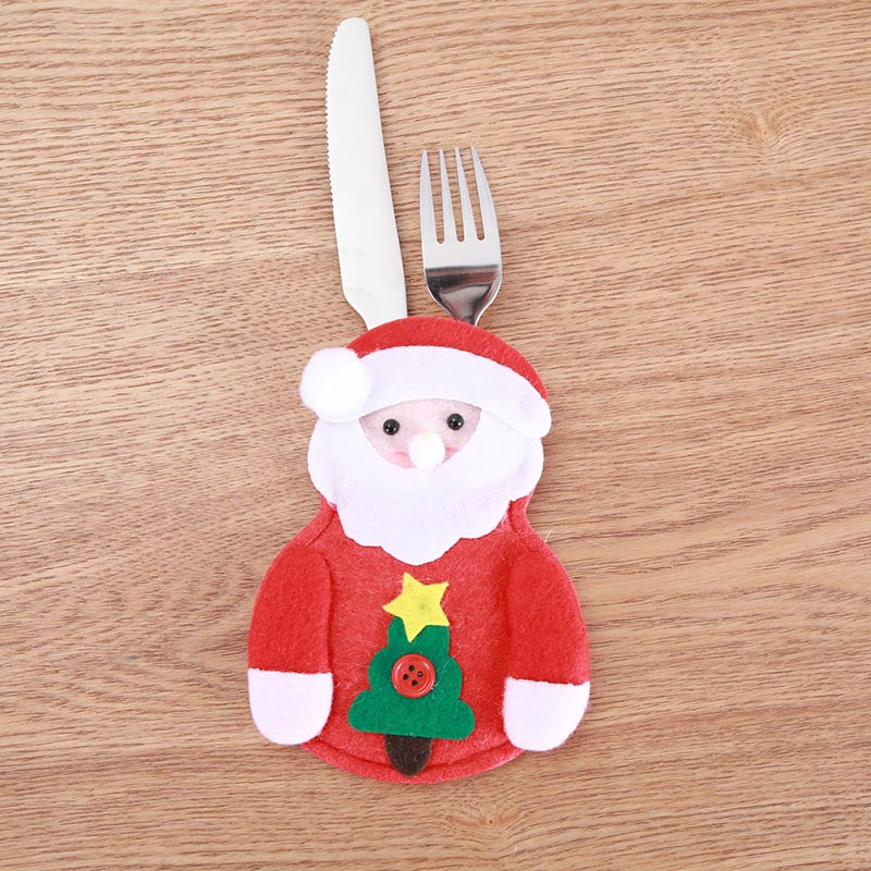 Шляпа Санты, олень, Рождество, Год, карманная вилка, нож, столовые приборы, держатель, сумка для дома, вечерние украшения стола, ужина, столовые приборы 62253 - Цвет: G