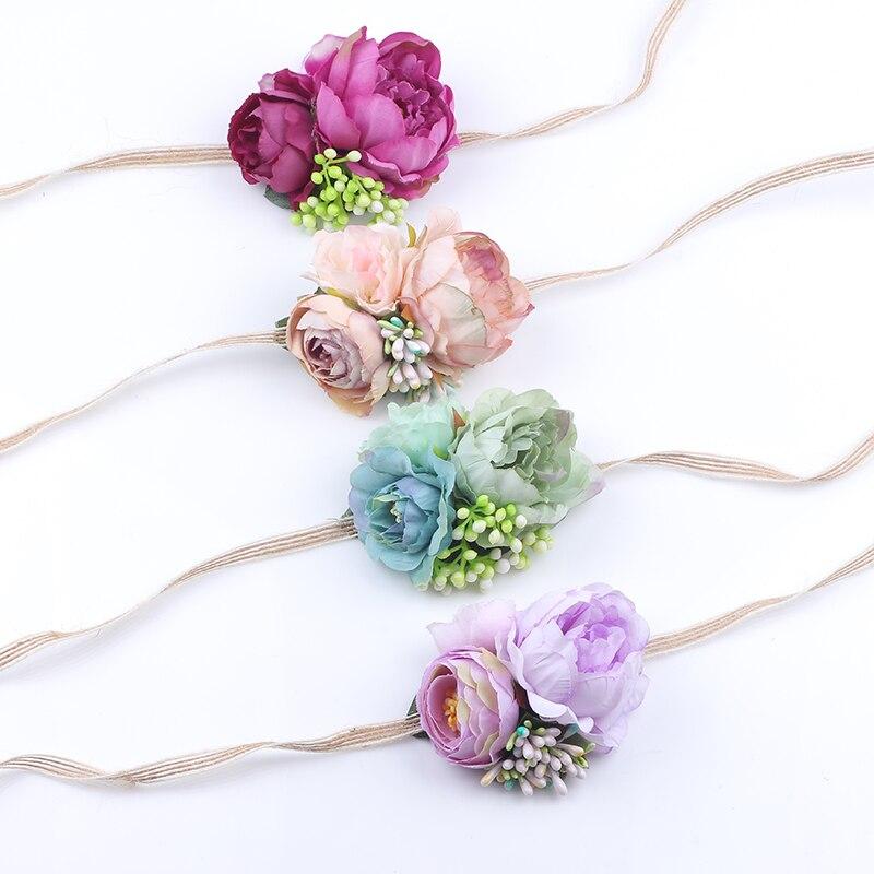 4 Colors Newborn   Headwear   Kids Flower Headband Hemp Rope Tie Hair Bands Girl Felt Flower Scarf Hair Accessories For Children