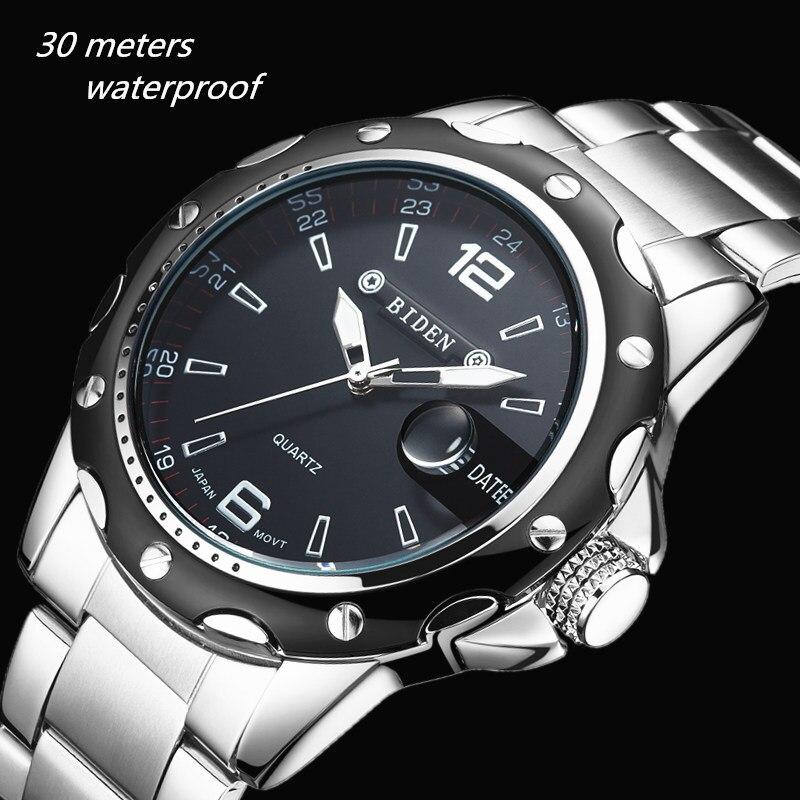 2016 BIDEN brand watches men quartz business fashion casual watch full steel date 30m waterproof wristwatches sports military wa