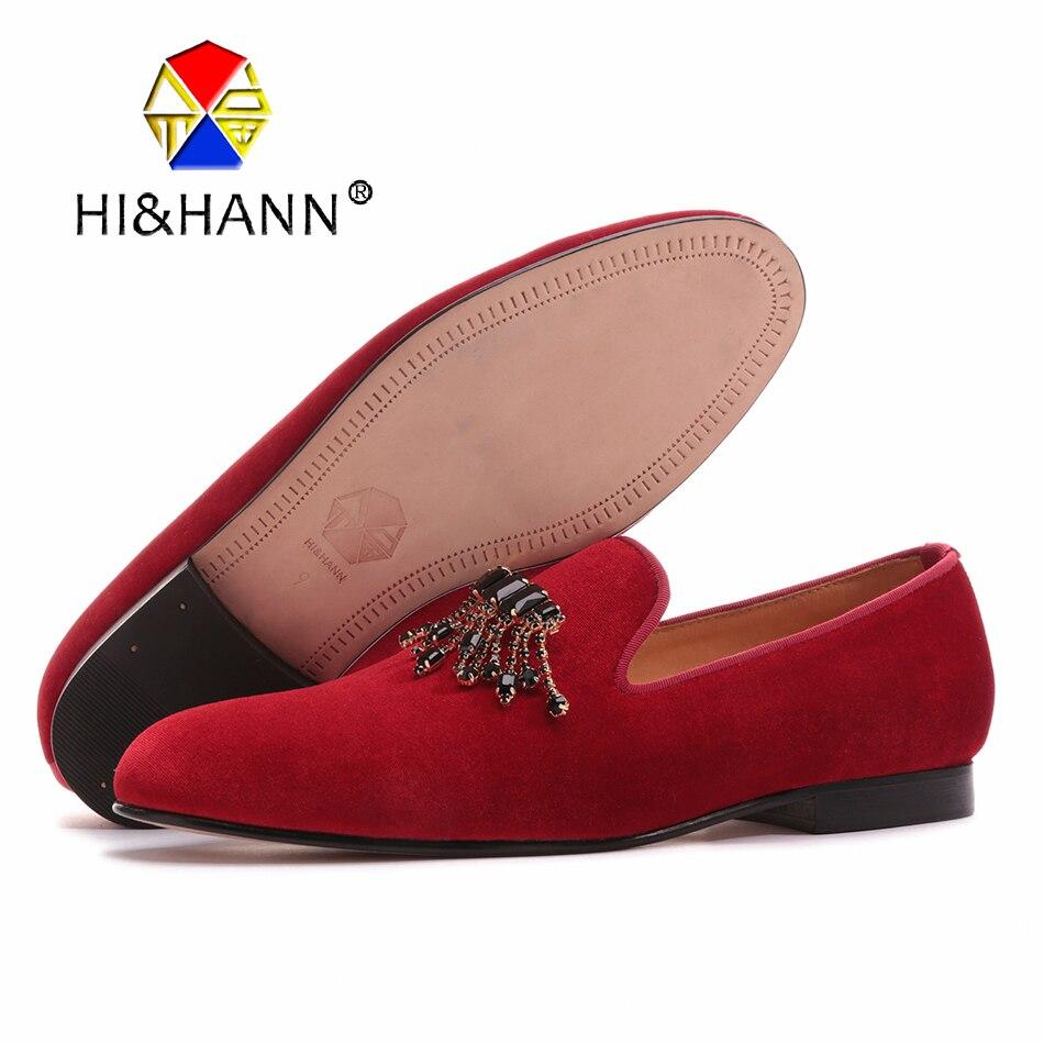 2017 new high grade red velvet handmade men shoes with black rhinestone Chains classic men banquet