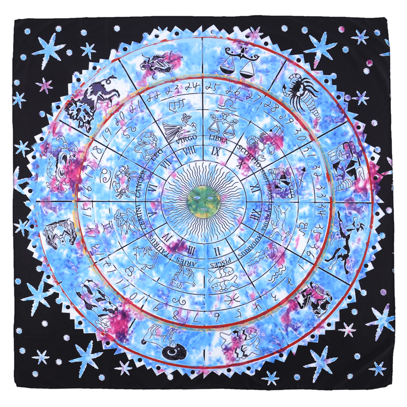 Tarot Card Divination Tablecloth For Classic Witt Flower Shadow Tarot Divination Props Astrological Tablecloths 100cm X 100cm