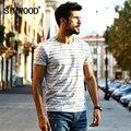 Simwood 2017 chegada nova primavera verão listrado t shirt homens shorts da luva da forma do vintage top bretão tees td1133