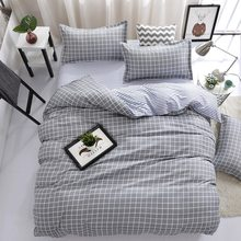 Grey Plaid Bedding Set Adult Soft Cotton Bed Linens Double Queen King Size Quilt Comforter Duvet Cover 24(China)