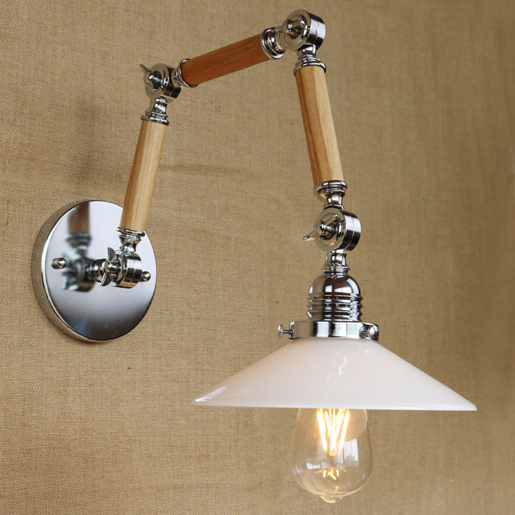 Base Retro Loft Industrial LED Vintage Wall Lamp lighting Wall Sconce Adjustable 3 Handle wood Rustic Loft Light Sconce Fixtures