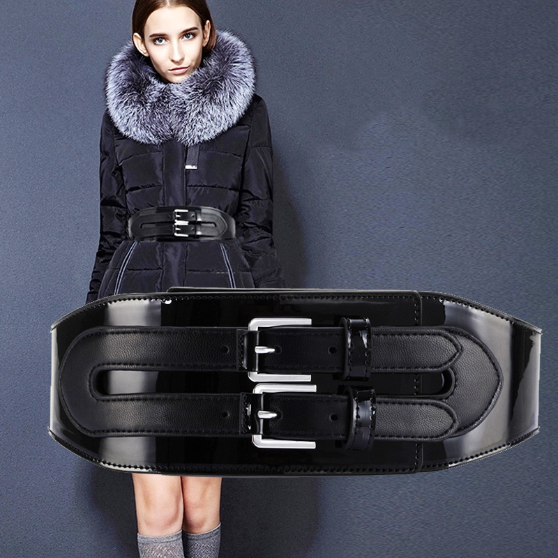 Wide belt female dress leather belts decorate waistband fashion silver pin buckle party belt
