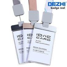 Продажа DEZHI-акриловые ясно карты доступа ID IC карты знак держатель Работа карты с полиэфирной шнурки, логотип шеи веревку