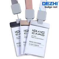 DEZHI-Acrylic Clear Access Card ID IC Card Badge Holder Work Card with Polyester Lanyard, LOGO Custom Neck Rope