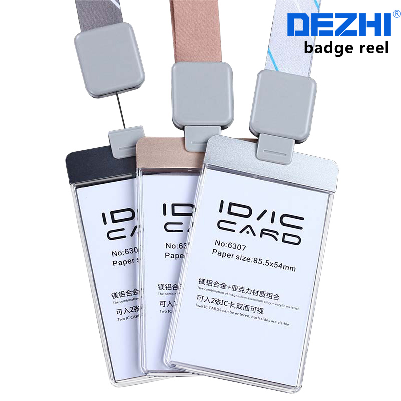 DEZHI-OEM!Acrylic Clear Access card ID IC Card badge holder work card with polyester lanyard,factory price,can custom the LOGO 6pcs lot acrylic cartoon nurse retractable badge reel id name tag card badge holder reels 2018 new doctor nurse supplies