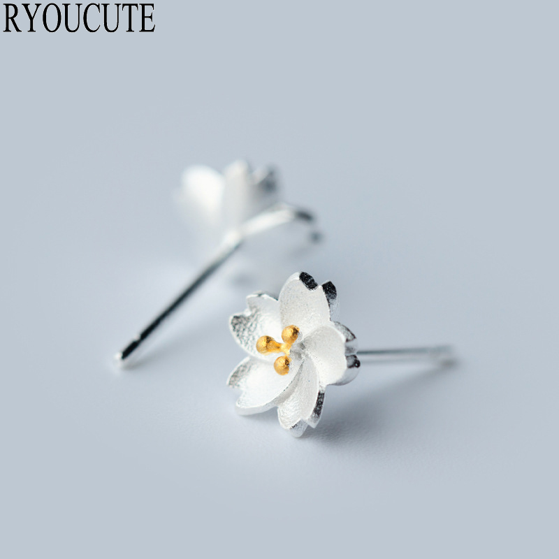 Fashion Silver Color  Cheery Flower Earrings For Women Brincos Pendientes Wedding Jewelry