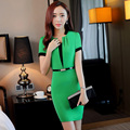 Summer Fashion Ladies OL Styles Elegant Green Ladies Dresses Uniforms Business Women Work Professional Dress Vestido With Belt