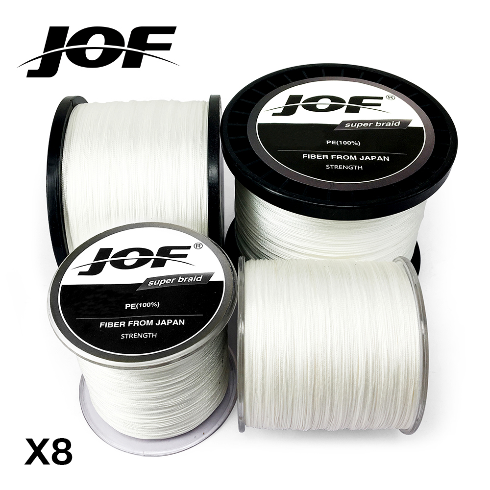 JOF Fishing Line 100M 150M 300M 500M 1000M 12lb-78lb PE White braid Fishing Line 8 Strands Ocean Beach Fishing цена