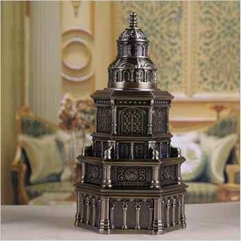 Retro Kirche form bronze farbe metall automatische zahnstocher box zahnstocher halter zahnstocher spender mit geschenk box YQT050