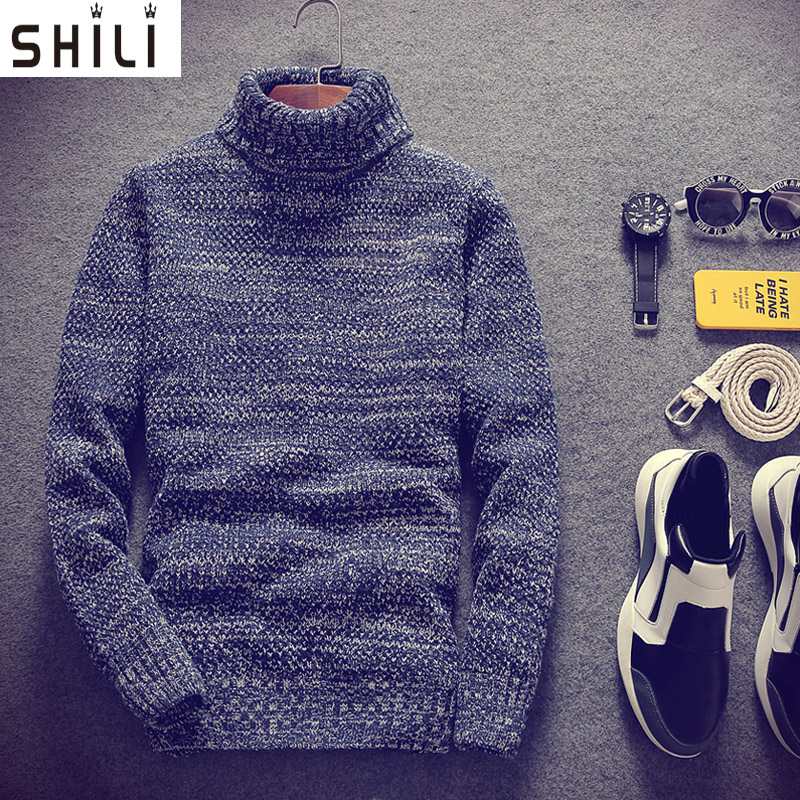 Sweater Men High - Necked Sweater Male Korean Version Of The Fresh Fresh Sets Of Winter Thick Student Sweaters Youth Self - Cult