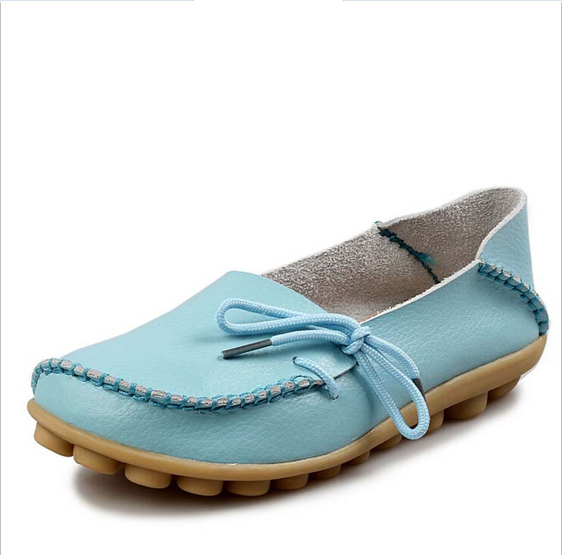 Genuine Leather Fashion Girl Flats Nice Fashion Knot Summer Loafers Shoes Women Breathable Casual Driving Lazy  Shoes