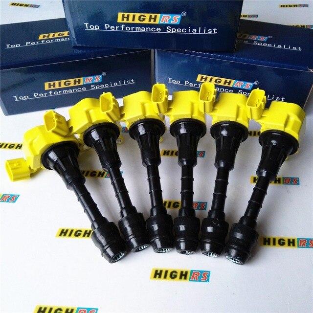 Juego de 6 paquetes de bobinas de encendido de rendimiento para Nissan 350Z Z33 Fairlady Z M35 G35 FX35 Skyline Stagera Cedric Fuga Gloria Y34