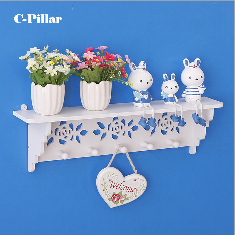 2Types Decorative Wood Wall Shelf with Hooks Rural Coat & Clothes Hanging Storage Rack Shelves Holders for Bedroom Living Room