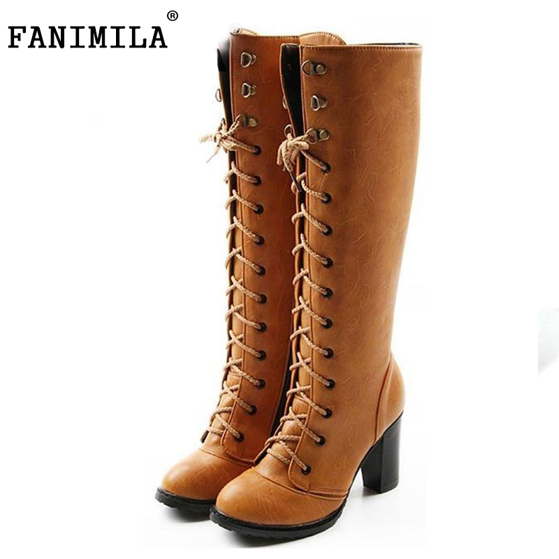 ФОТО free shipping over knee high heel boots women winter warm shoes AH103 hot sale EUR size 34-43