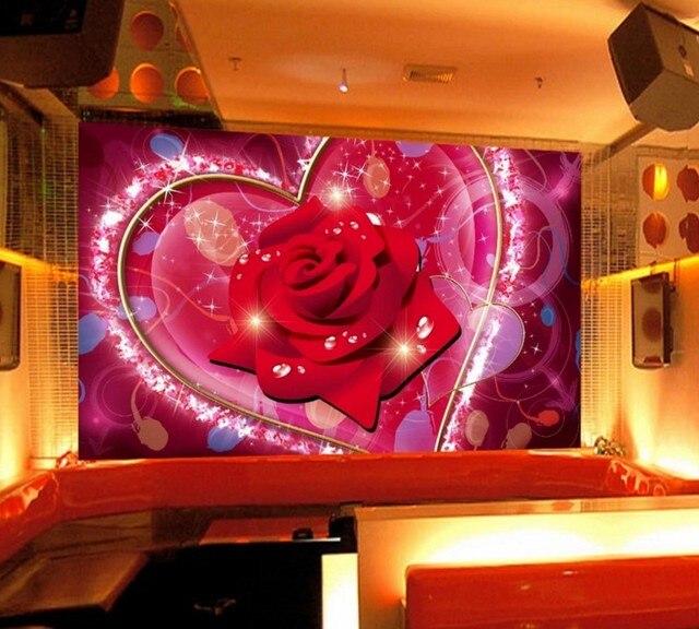 free shipping custom wallpaper mural hd love rose music carnival ktv