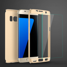 Luxury 360 Degree Full Body Protection Cases For For Samsung Galaxy S7 S6 Edge S5 J5 J7 2015 2016 Cover +Tempered Glass