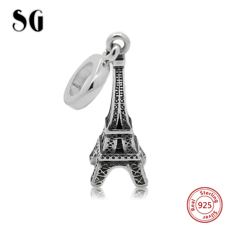 Fit Authentic European charms silver 925 original Antique Eiffel Tower Coffee cup Purse Cross perfume bottle Gelang Manik Hadiah