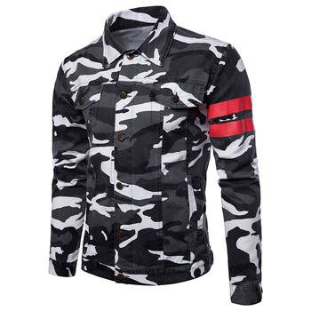 2018 autumn Mens Casual jeans jackets Camouflage pattern Outwear Cotton cloth pop youth Men fashion Jacket Coat large size 3XL