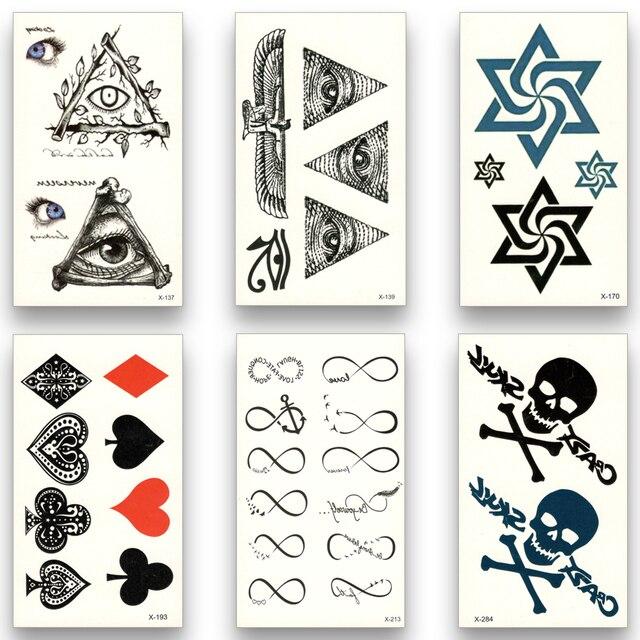 12 sheets fake temporary tattoo water transfer skull rose dragon egypt letter eye stickers women men