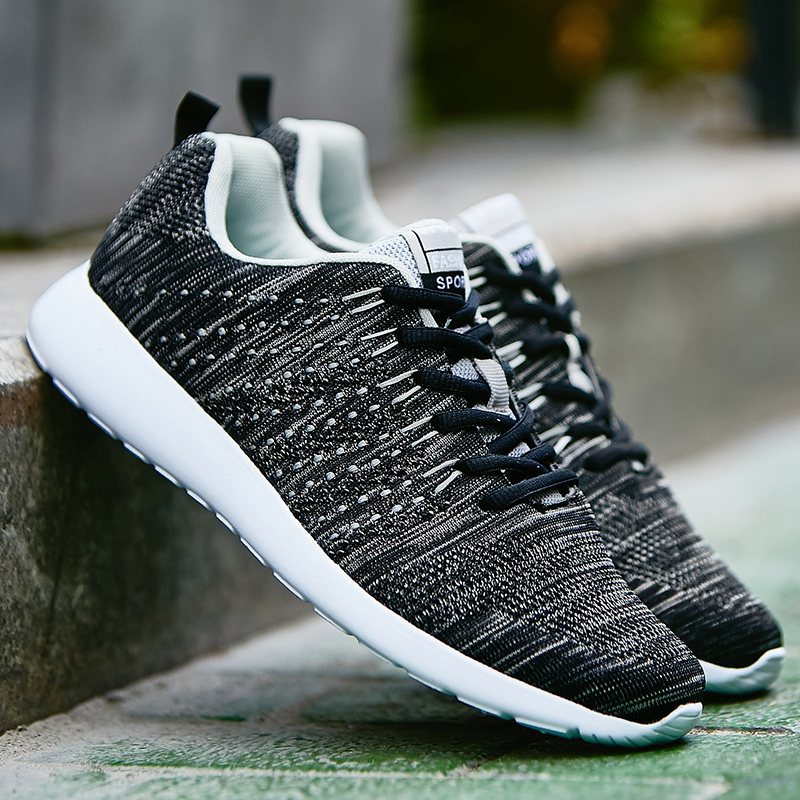 Men Casual Shoes Fashion Mesh Flyweave Shoes for Men Spring/Autumn Casual Shoes Laces Plus Size 39-46 Lazy Flat Male Shoes plus size 39 44 men spring shoes 2017 spring air mesh shoes men breathable casual shoes for men hombres zapatillas e62