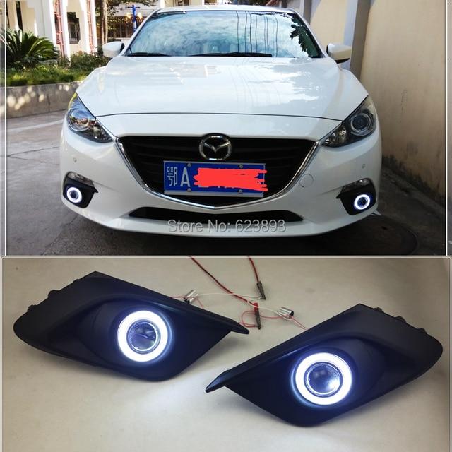 Free Shipping Fit Mazda 3 Axela 2017 2016 Led Daytime Running Lights Drl Fog Angel Eyes Kit