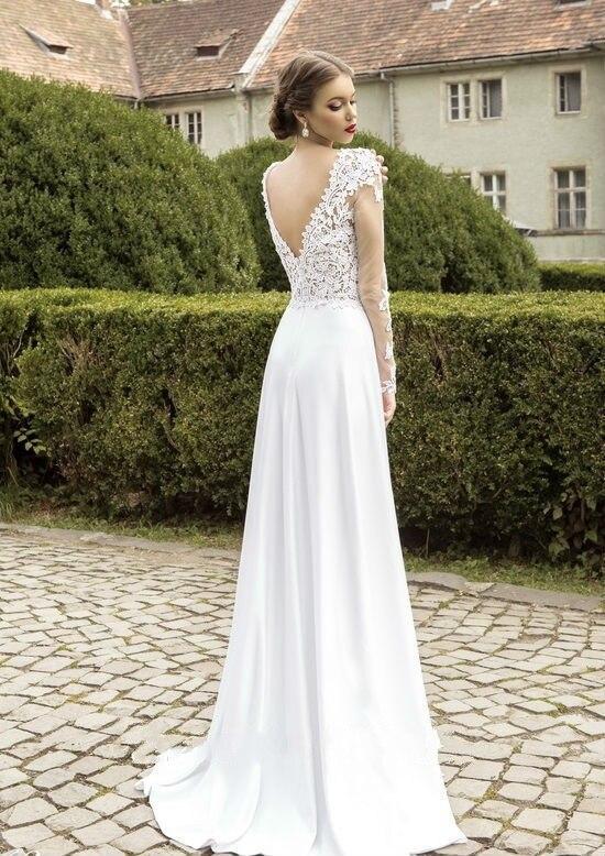 Plage robes de mariée 2016 dentelle manches longues Boho robes de mariée  mousseline de soie blanche robes de mariée Unique jambe fente pays robe de  mariée