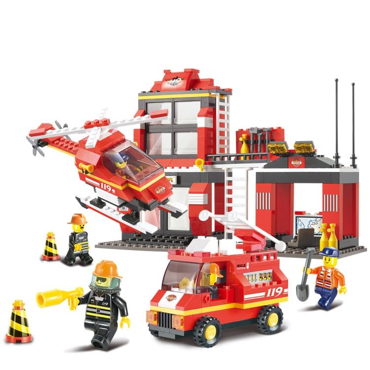 все цены на no original box fire engine 0225 emergency Building Block Sets 371 pcs DIY Brick boy toy Free shipping онлайн