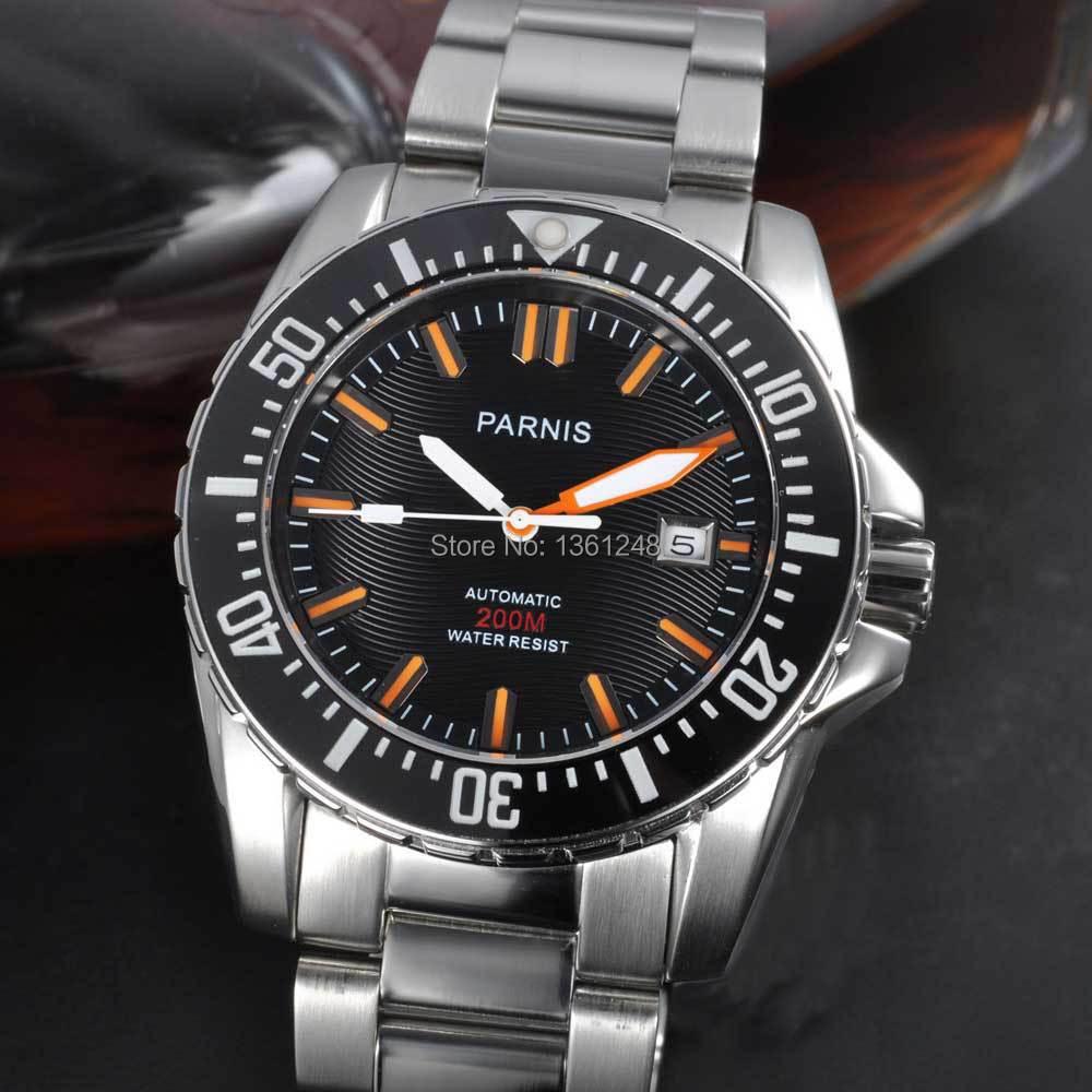 где купить 43mm Parnis black dial Sapphire glass Ceramic Bezel WATER RESISTANT 200m automatic stainless steel strap diver mens watch 122 по лучшей цене