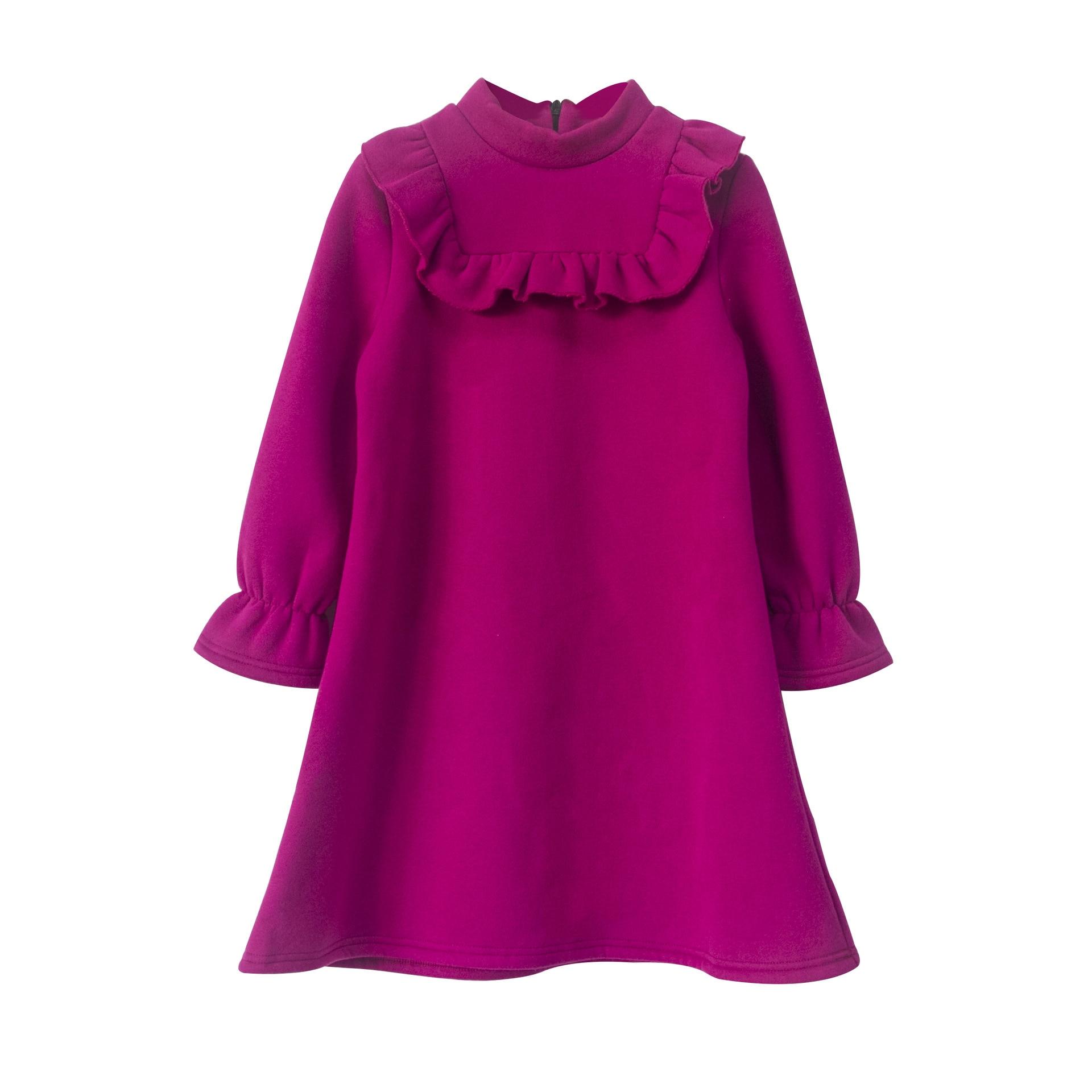 Thick Velvet Girls Dress 2018 Autumn Winter Teenager Girl Warm Fleece Purple Sweatshirt Dress Kids Ruffle Princess Party Frocks