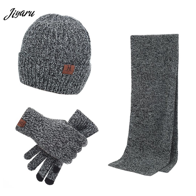 Hot Sale Men Thickening Sets Hats Scarves Gloves Three-piece Set Male Warm Spring Autumn Winter Knitted Apparel Accessories