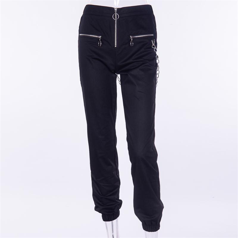 Gothic harajuku zipper streetwear women casual harem pants with chain solid black pant cool fashion hip hop long trousers capris 9
