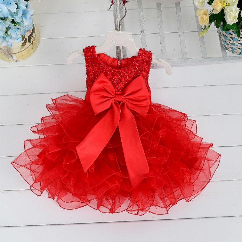Baru Kedatangan Bayi Perempuan Gaun Musim Panas Gadis Gaun Berlapis Dengan Busur Anak Party Dress 6 warna L1819XZ