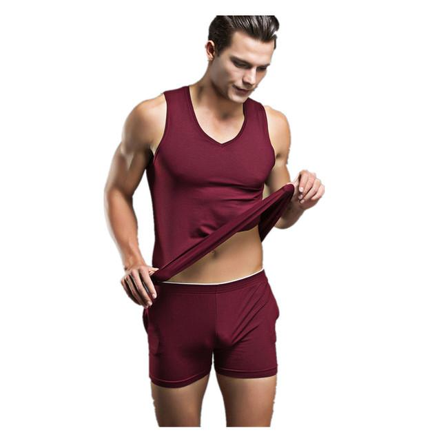 Al por mayor Para Hombre Hombres Sexy Ropa de Dormir ropa de Dormir de Algodón 2016 A Estrenar ank Camisetas Interiores de Los Hombres Ocasionales Del Diseñador de Ropa Interior Conjuntos de Pijamas