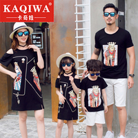 Summer 2019 Large Size Parent Child Dress New Style Three in four in one Short Sleeve T shirt Mother Child Skirt Family Dress