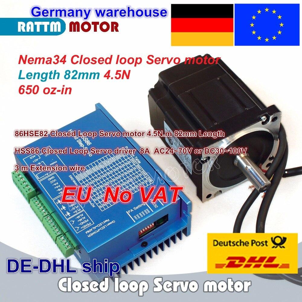 EU free 1 Set Nema34 4 5N m Closed Loop Servo motor Motor Kits 82mm 6A &  HSS86 Hybrid Step-servo Driver 8A CNC Controller Kit