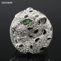 2016 Newest Fashion Leopard Design Women Finger Rings Plated Real Platinum Prong Setting AAA Cubic Zirconia
